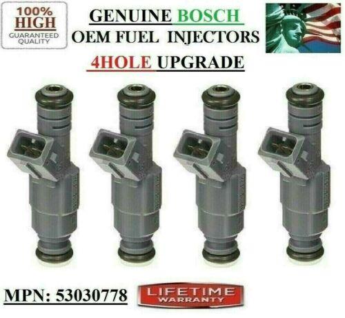 97-02 Jeep Wrangler 2.5L I4 UPGRADE 4HOLE OEM BOSCH 4x Brand NEW Fuel Injectors