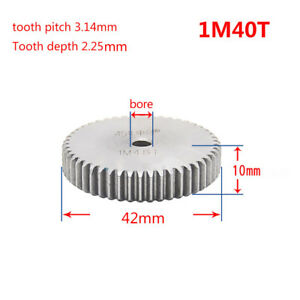1 Mod 40T Spur Gear Steel Motor Pinion Gear Thickness 10mm Outer Dia 42mm x 1Pcs