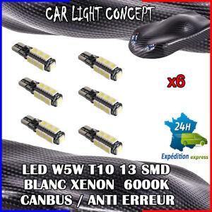 6-x-ampoule-Veilleuse-LED-W5W-T10-13-SMD-BLANC-XENON-6000k-voiture-auto-moto