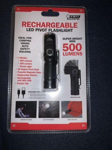 FEIT Electric Rechargeable Multi-Use Mini Pivot Flashlight Led Lumen 500//250 New