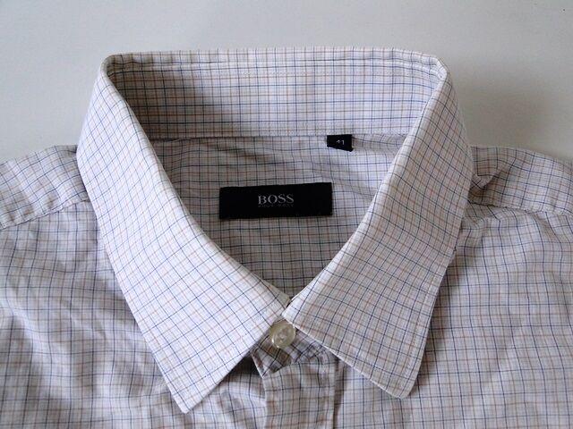 Hugo Boss Slim Fit Herren Hemd Langarm Weiß Beige Kariert KW41     Verschiedene Waren    Erste Gruppe von Kunden    Hochwertige Materialien