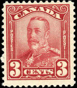 Mint-Canada-F-Scott-151-3c-1928-KGV-Scroll-Issue-Stamp-Hinged
