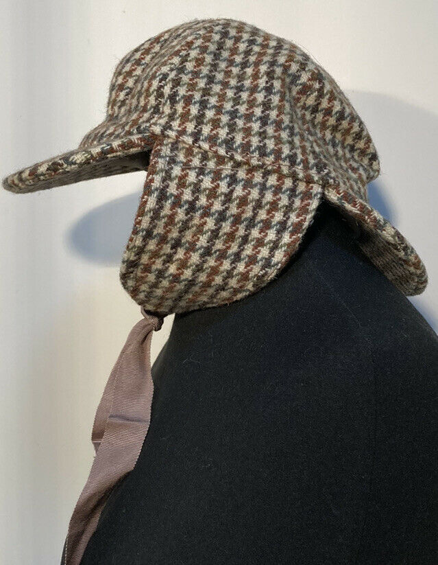 DUNN & CO Flache Kappe Gr.S,Wolle, Tweed Mütze Hut Made in England mehrfarbig