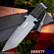 TACTICAL BOWIE SURVIVAL HUNTING KNIFE w/ SHEATH MILITARY Combat Fixed Blade FIRE