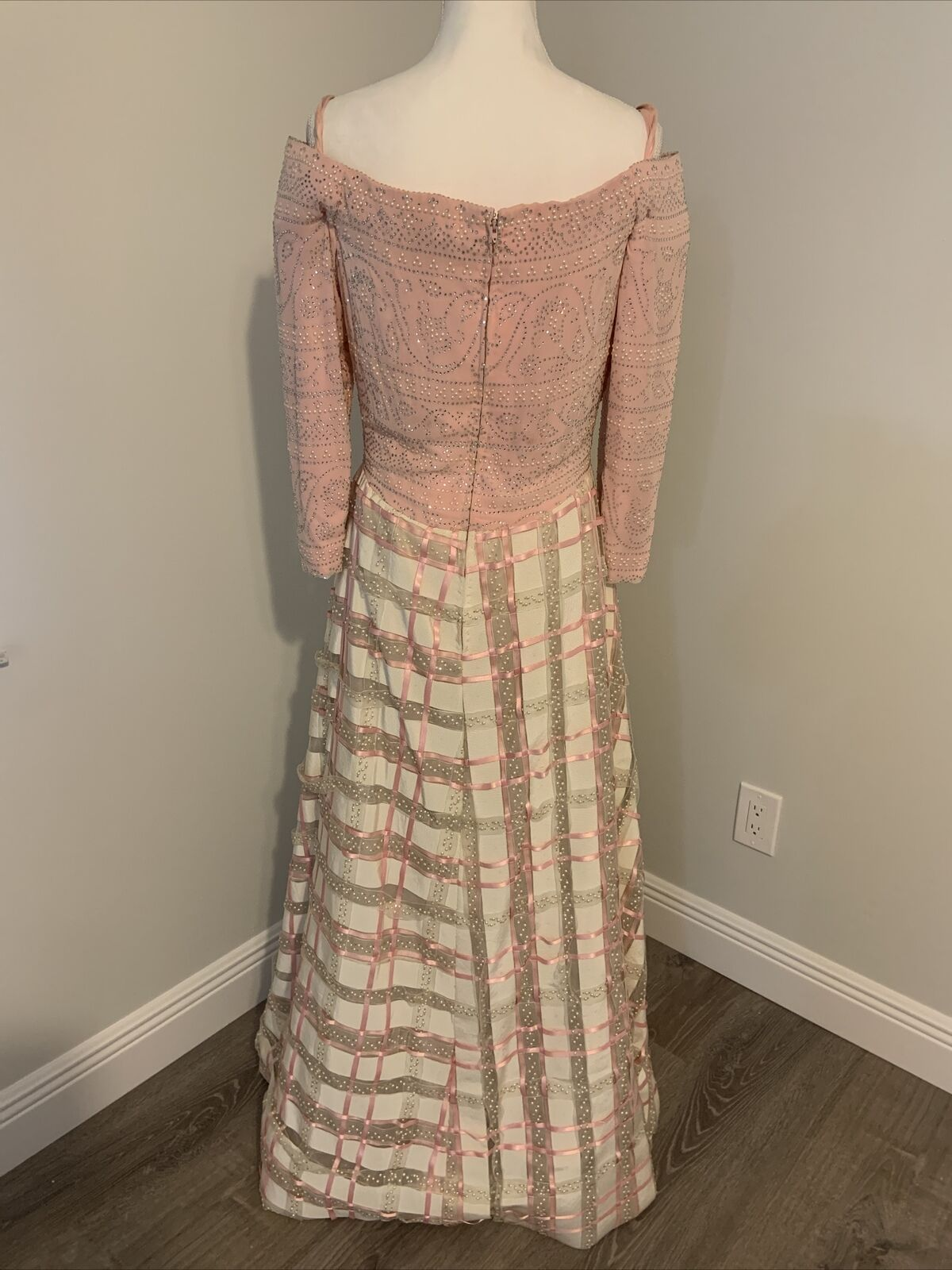 Arnold Scaasi Vtg Couture Pink Rhinestone Bodice/… - image 4