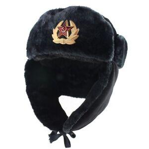 300266bc519d6 Russia Bomber Winter Hat Men Soviet Army Military Ushanka Pilot Faux ...
