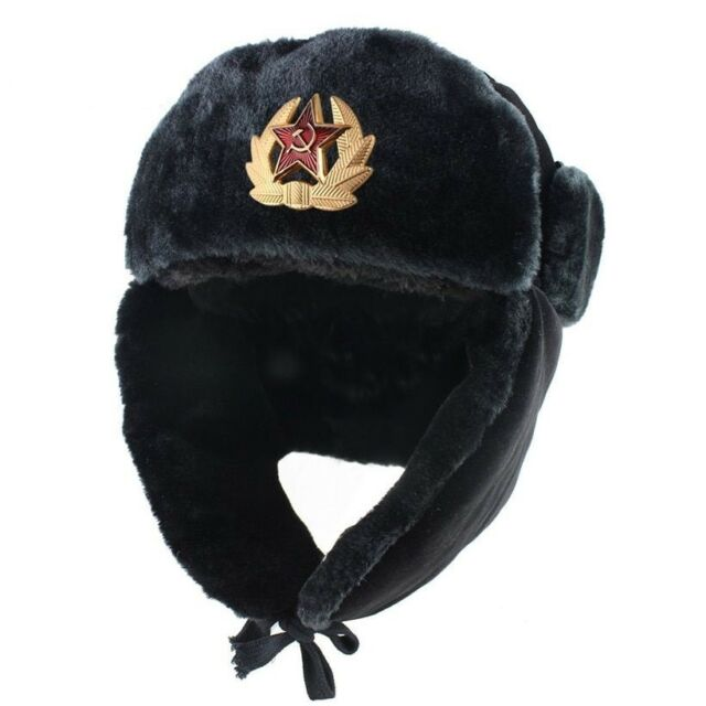 Russia Bomber Winter Hat Men Soviet Army Military Ushanka Pilot Faux Rabbit  Fur 363e8c25798
