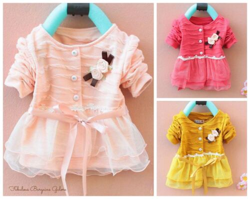 Toddler Chiffon Occasion Children Birthday Baby Girl Dress Party Kids Clothes UK