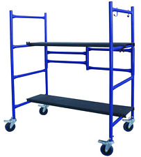 Roll and Fold Mini Scaffold w/ 2 Adjustable Height Steel Deck Boards Scaffolding