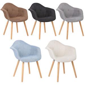 2-X-Chaises-salle-a-manger-en-lin-Chaise-de-cuisine-avec-dossier-en-bois-f103