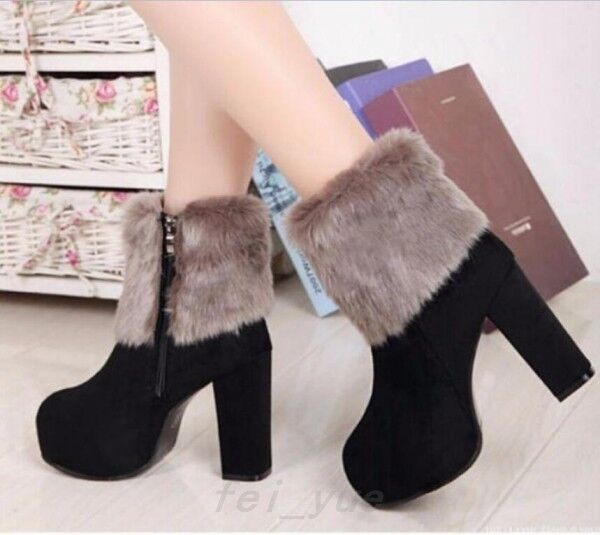 Womens warm winter fur trim faux suede chunky heel zipper platform ankle boots
