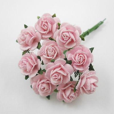 100 Mini Soft Pink Roses Paper Wedding Scrapbook Crafts Decoration Flowers R2-2