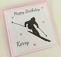 Handmade Personalised Skiing Silhouette Theme Birthday Card: 18th 21st 30th
