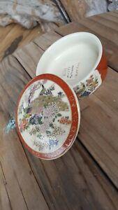 "Vintage Japanese Satsuma Porcelain Covered Bowl 3"" Peacocks & Flowers Gold Trim"