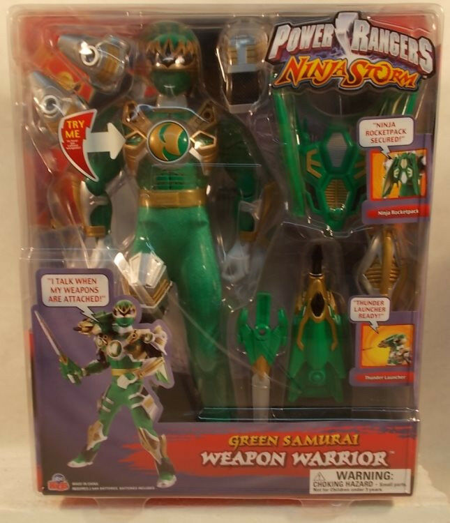 Power Rangers Ninja Storm 12  Weapon Warrior Talking verde Samurai Ranger  MOC