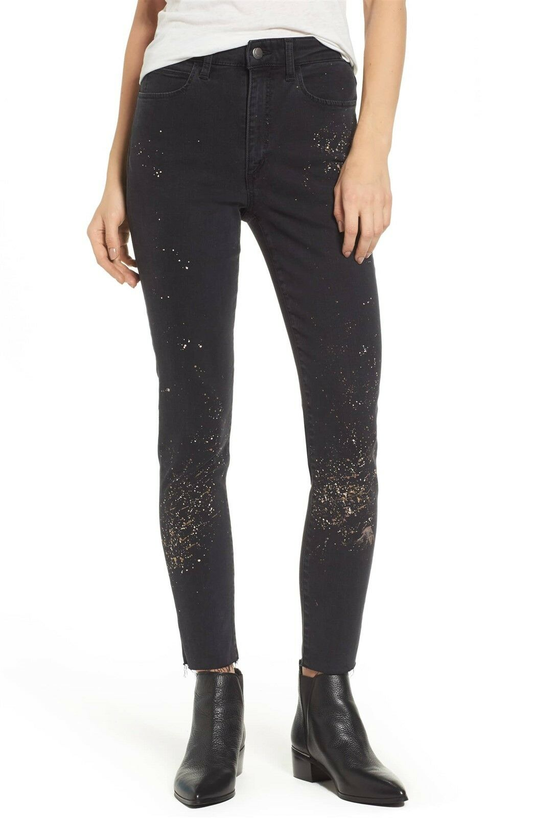Joes Jeans Charlie Cotton Metallic Splatter Ankle Skinny Jeans Size 24  178 NWT