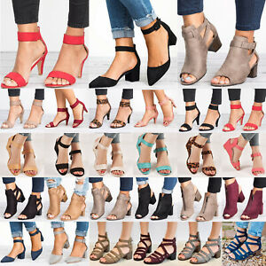 Womens-Mid-Block-Heels-Wedge-Sandals-Casual-Chunky-Ankle-Strap-Party-Shoes-Size