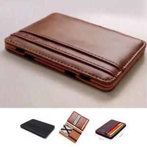 3d0fafe47b0198 RFID Blocking Magic Flip Leather Wallet Slim Credit Card Holder Mens ...