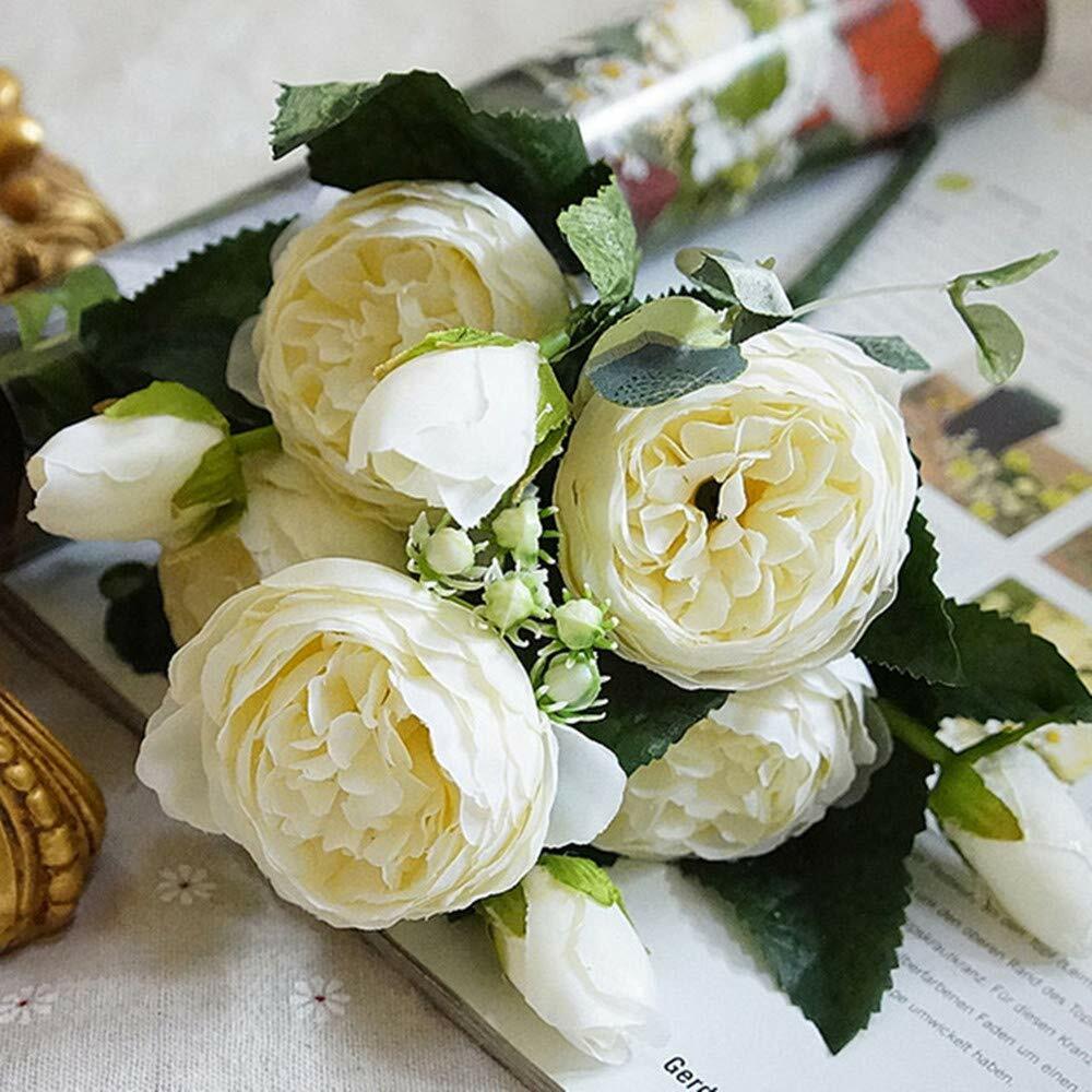 "Cream Peony Faux Silk Flower Bush 21/"" Tall 7-4.5/"" Bloom Home Office Decor Craft"