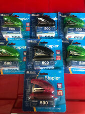 New Lot Of 7 Bazic Mini Staplers With 500 Staples Each Built In Staple Remover
