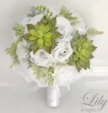 17 Piece Package Silk Flower Wedding Bridal Bouquet Sets SUCCULENT GREEN WHITE