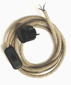 Zuleitung Lampenkabel Textilkabel 3 Adrig Leinen Jute Stecker Schalter Exklusiv Ebay