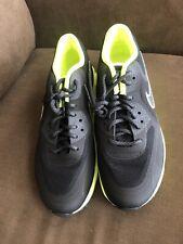 858b3fbf5c29f Nike Womens Air Max Lunar90 C3.0 SNEAKERS Black Metallic Silver Volt ...