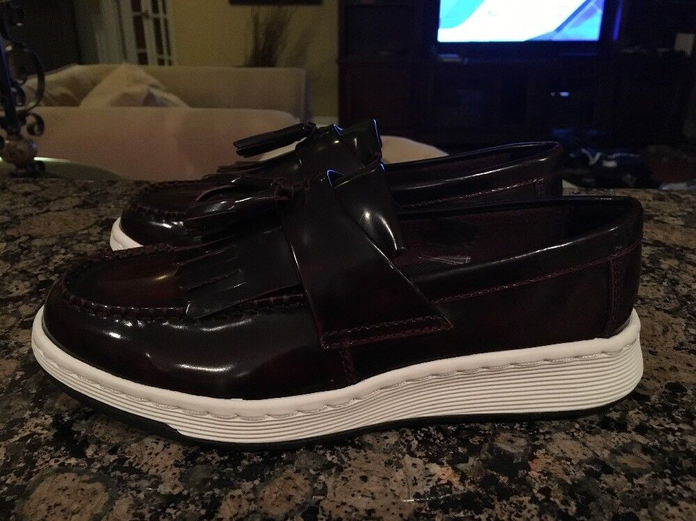 New Sz 6 Dr. Martens Edison Tassel Loafers Polished Brown w  White Trim Sole