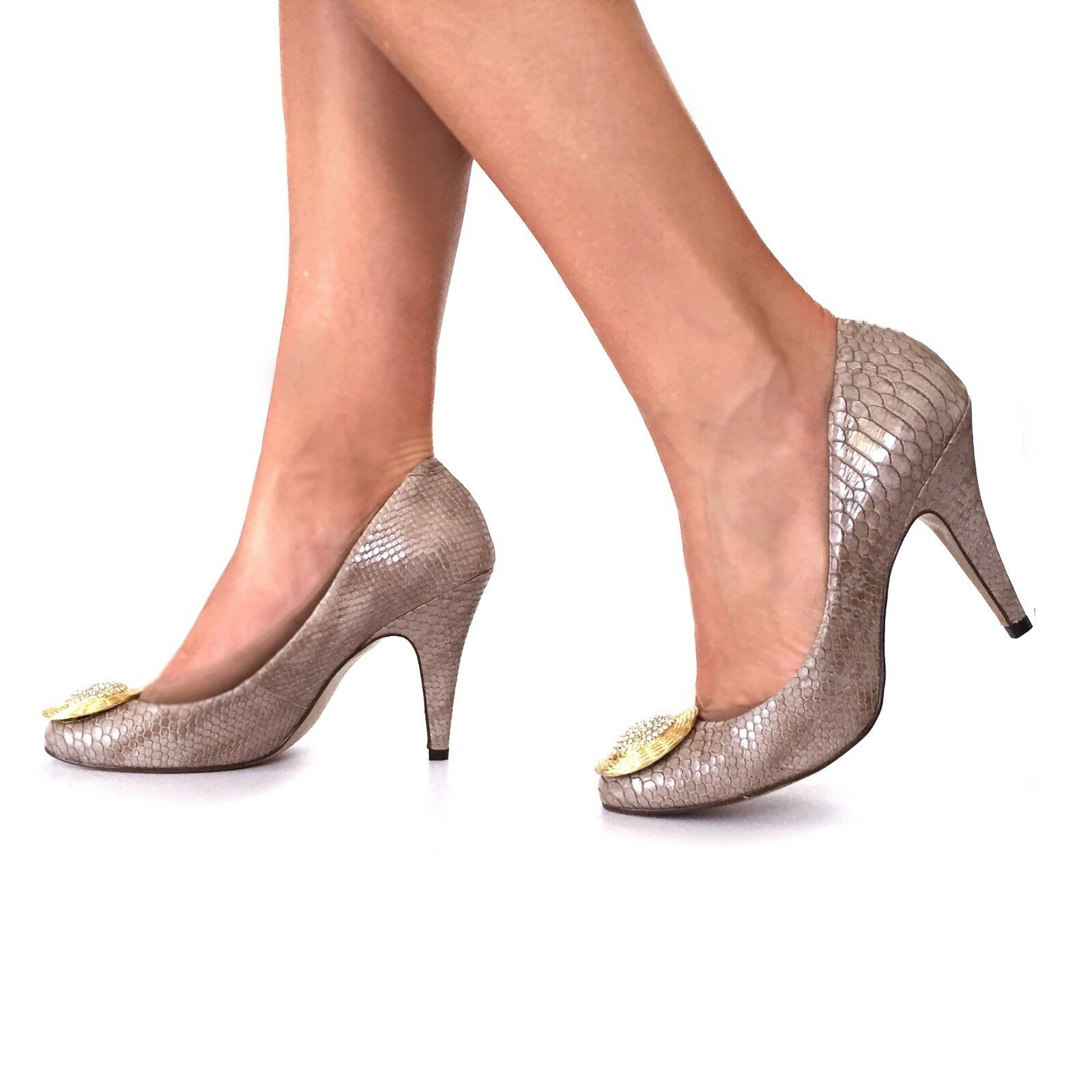Leather Pumps shoes Mid Heel Rounded Womens embossed snake pink nude crystal