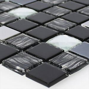 Glas Edelstahl Mosaik Fliesen Selbstklebend Schwarz Silber Ebay