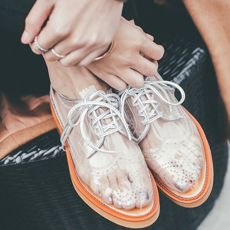 Hot Sale Transparent Lace Up Carved Oxford shoes Lady Chunky Low Heels Sandals