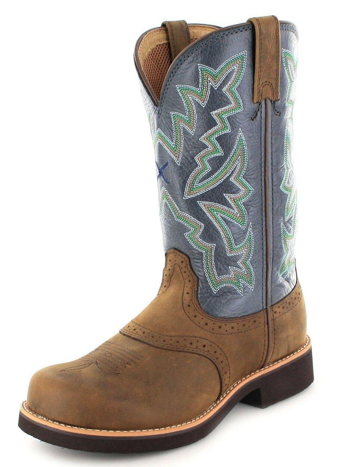 Twisted X bottes 1717 Barn Burner Saddle bleu Western Riding bottes femmes marron