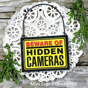 Doorknob-Mini-Sign-BEWARE-OF-Hidden-Cameras-Surveillance-Security-Reduce-Theft