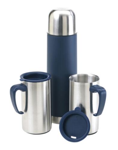 Edelstahl Isolierkanne Isolierflasche mit 2 Isolierbechern OUTDOOR Thermoskanne