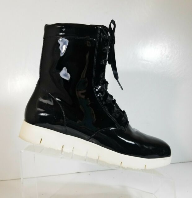 Tsubo Emilee Women Black Patent Leather Combat Lightweight Lace Up Boots Size 7