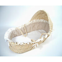 Natural Moses Basket With Beige Gingham Bedding on sale