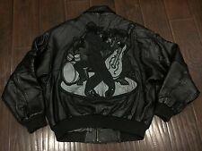 VTG🔥 PELLE PELLE Marc Buchanan MB Black Multi Leather Jacket 46 Blues Jazz Wolf