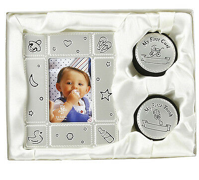 Baby - MY FIRST TOOTH, CURL & PHOTO FRAME - Birth Christening Present