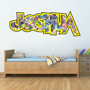 Image Is Loading Childrens Personalised Name Wall Stickers Pokemon  Boys Girls