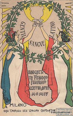 * MILANO - Banchetto Franco Italiano 1904 Gibelli (Cartolina Tiratura limitata)