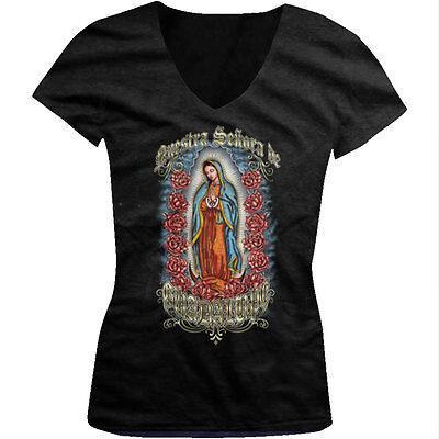 Nuestra Senora De Guadalupe Our Lady Virgin Mexico Saint Juniors V-Neck T-Shirt
