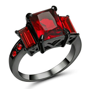 Image Is Loading Gorgeous Red Ruby CZ Band Wedding Ring Black