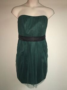 White-Vera-Wang-Dress-Forest-Green-VW360161-Size-16-Strapless-Tulle-Sash-NWT