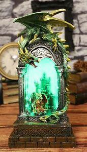 Green Dragon Perching On Celtic Arch Columns With Red Wyrmling LED Light Statue