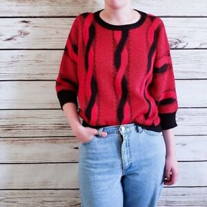 Vintage-80s-Bat-Wing-Black-and-Red-Swirl-Cable-Knit-Sweater-Jumper-Medium