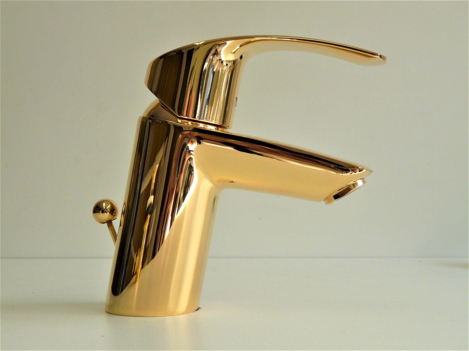 Grohe Eurosmart Waschtischarmatur Gold (24 Karat), Einhebelmischer, Wasserhahn