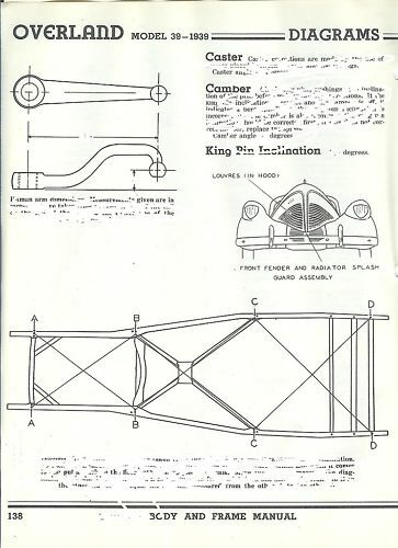 1939 Willys Overland Frame Dimensions Alignment Specs Ebay
