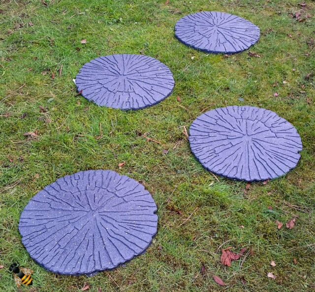 Interleafings Garden Designers Roundtable Expanding: Stepping Stone Garden Path Log Wood Design Recycled Rubber