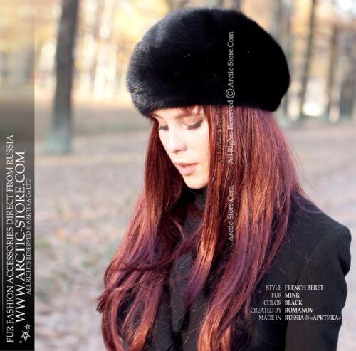 1 size fits all Women/'s French Black Mink Fur Beret Winter Hat
