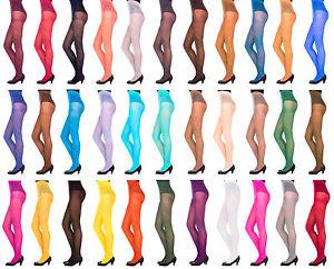 60-denier-Womens-LADIES-Opaque-Microfibre-TIGHTS-Various-Colours-Sizes-S-XL